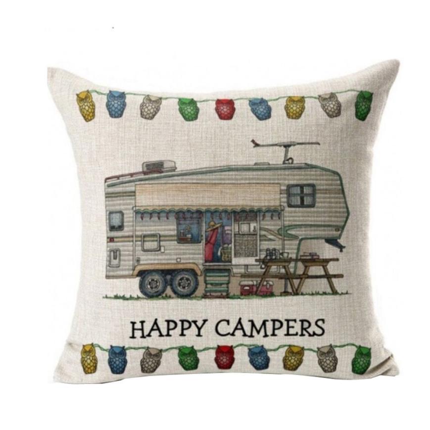 45X45CM Happy Campers Pillow Case Sofa Waist Throw Cushion Cover Home Decor 2O0323