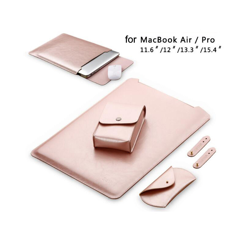 Waterproof Notebook Sleeve 11.6 12 13.3 15 15.4 Inch Leather Laptop Bag Pouch Cover For Macbook Air Pro 11 12 13 15 Case SY001