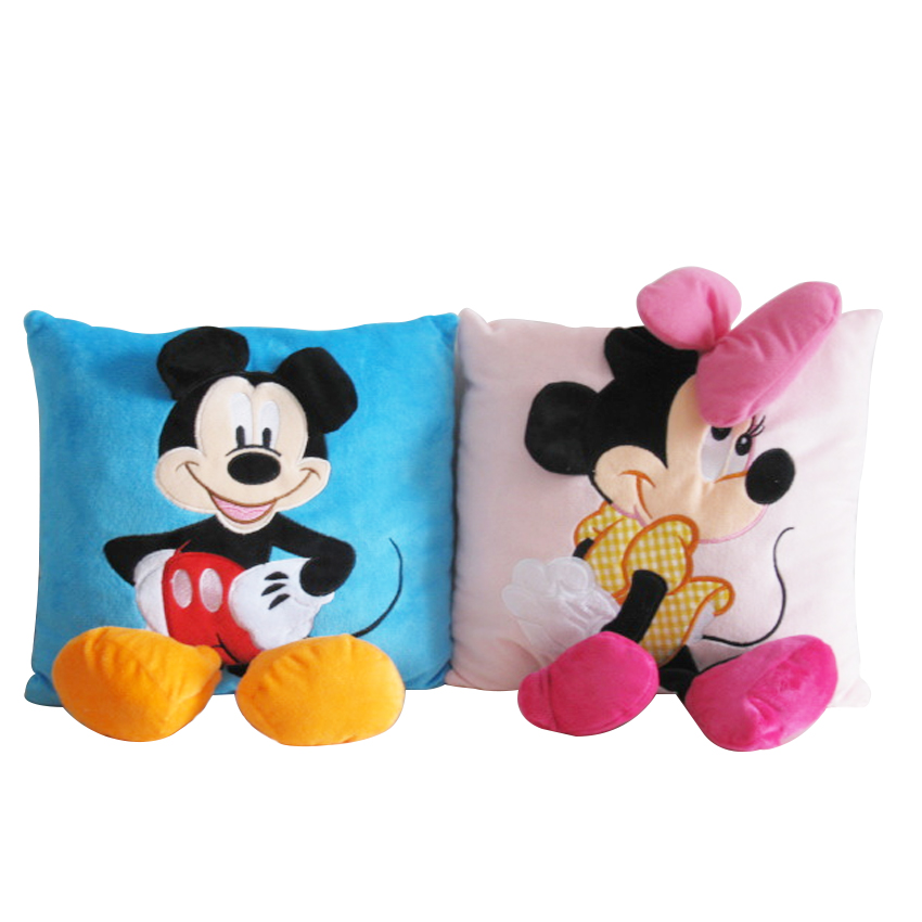 1pc 33cm*30cm Mickey Mouse and Minnie plush Pillow Cushion,Cartoon Stuffed Pillow Car Cushion Soft Toy For Gift cute 1pair 33cm funny stitch lovely plush car soft headrest vehicle bone rest neck pillow stuffed toy