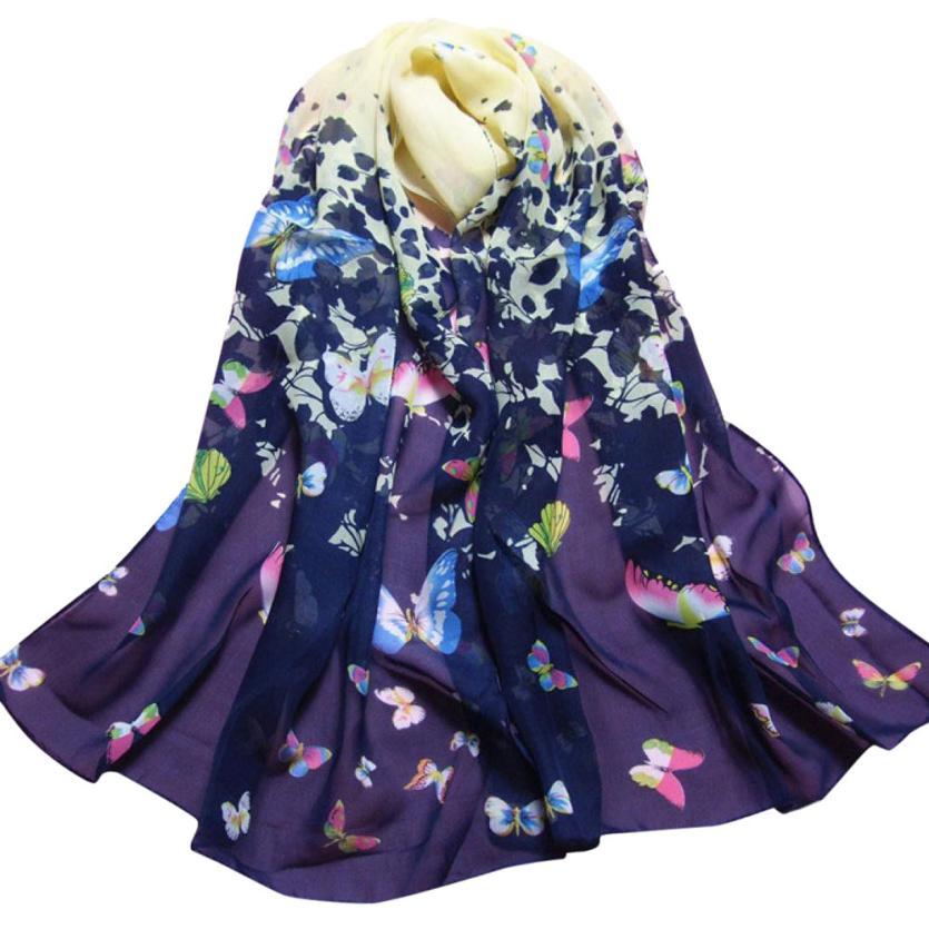 KANCOOLD women   scarf   socks Butterfly silk   scarf   Printed Flower Soft Muffler Chiffon   Scarf     Wrap   Shawl Style veil P APR9