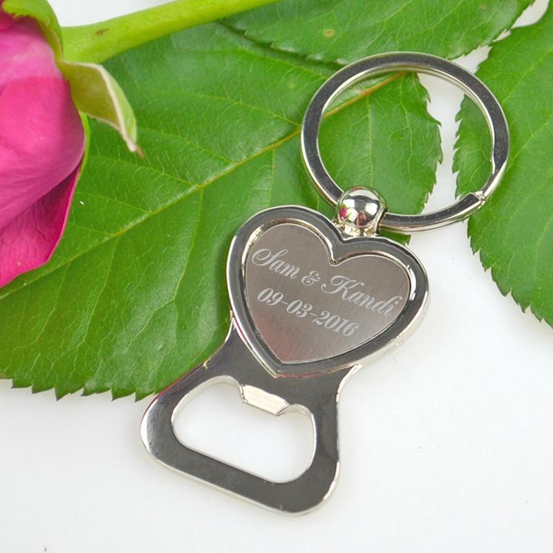 Personalised Wedding Favour Love Heart Bottle Opener Key Ring Custom Bride Groom Personalized Wedding Party Gift