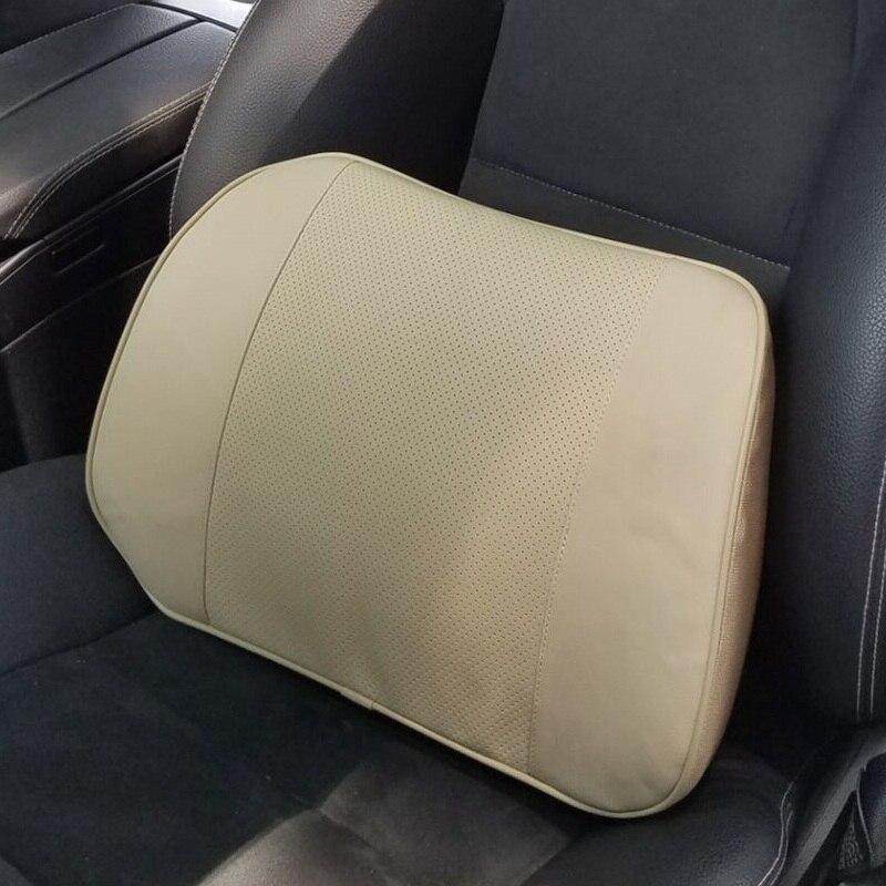 Автокресло поясничного Поддержка из натуральной кожи памяти Хлопок спинки для офиса эргономичный стул талии подушка для водителя черный