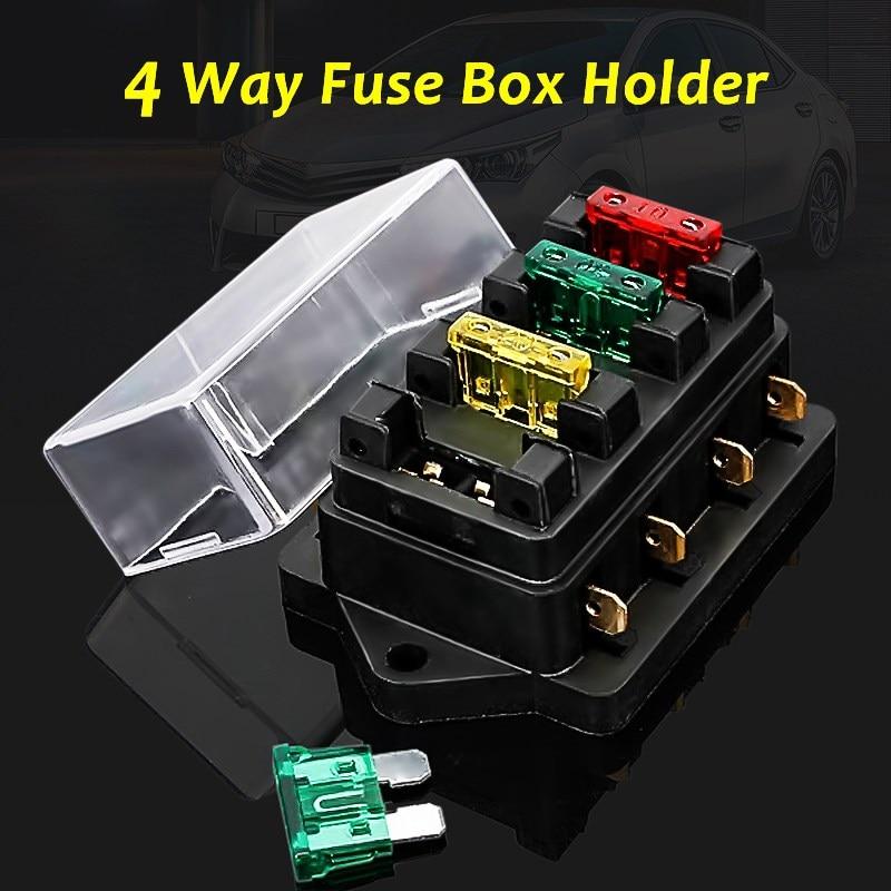 12 24v fuse holder box 4 way car vehicles circit. Black Bedroom Furniture Sets. Home Design Ideas