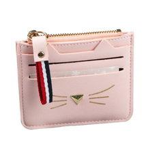 2018 Hot Women Mini Credit Cards Holders Ladies Coin Purses Card Holder Wallet For Female Small Lovely Cat Ear Cash Card Purses(China)
