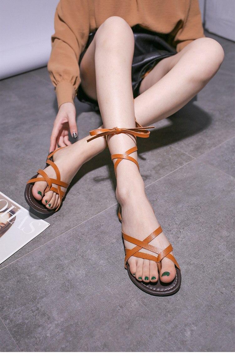 HTB16.dOP4naK1RjSZFtq6zC2VXaQ New Women Sandals Gladiator Summer Casual Women Shoes Large Size Rome Flat Sandals Lace-Up Beach Comfortable Sandals Women 2019