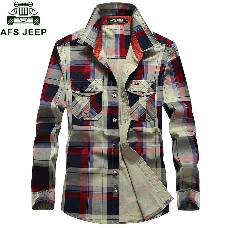 AFS JEEP Plaid Shirt Men 100% Cotton Spring Summer Autumn Long Sleeve Denim Pockets Mens Shirts Camisetas Hombre Plus Size 4XL