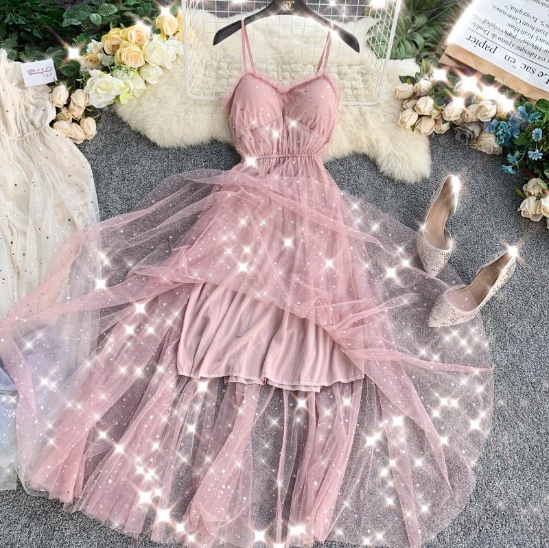 Sequins V-Neck Gauze Ruffles Mesh A-Line Dress 4