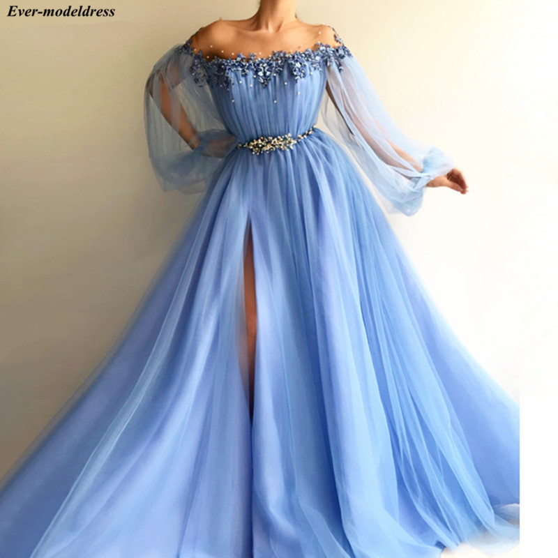 Blue   Prom     Dresses   2019 Long Sleeves A-line Sheer O-Neck Pearls Appliques Tulle Slit Long Formal Evening Gowns   Proms   Plus Size