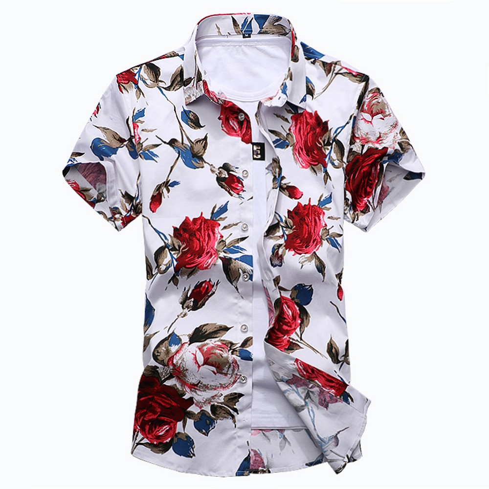 Summer Trend Men's Floral Shirts Cotton Short Sleeve Casual Hawaii Shirt Male Stretch Breathable Slim Fit Social Shirt Man M-6XL