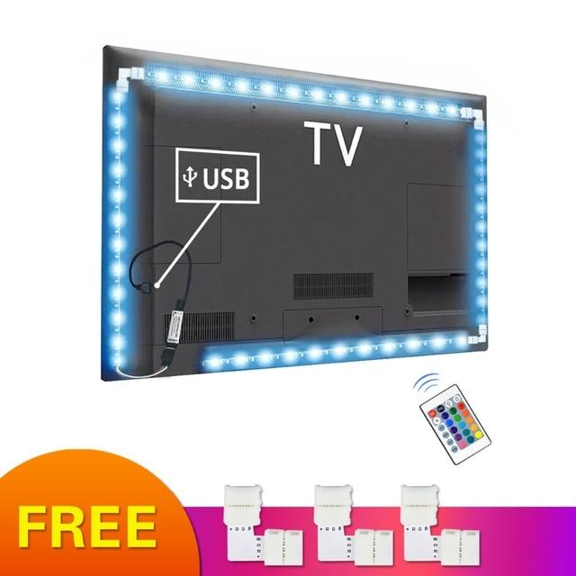 5V Rgb Usb Led Strip Licht Tape 5050 Tira Led Usb Diode Tape Niet Waterdicht 1M 2M 3M Tv Backlight Bande Verlichting Decoratie Lamp