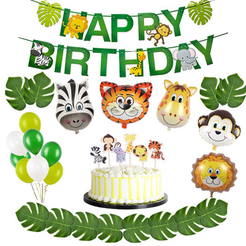 Giungla Aerostati della Stagnola Animale Zoo Animal Jungle Tema Del Partito Di Compleanno Decorazione Del Partito di Compleanno Per Bambini Palloncini Safari Partito Decor 1