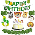 Джунгли вечерние воздушные шары из фольги в виде животного из зооппарка джунгли тематическая вечеринка на день рождения вечерние украшени...