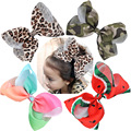 8 Inch Big Large Women Hair Bows Rainbow Print Grosgrain Ribbon Hairpins Childrens Girls Hair Accessories Alligator Clips
