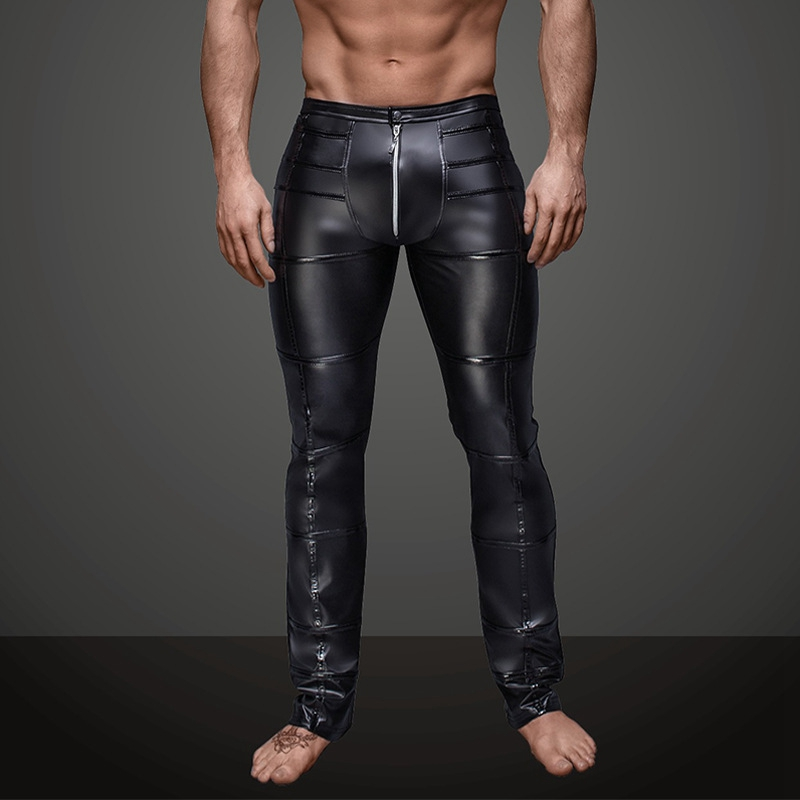 Men Sexy Wetlook Faux Leather Lingerie Exotic Pants PU Latex Catsuit Zipper Crotch PVC Clubwear Gay Fetish Pants Leggings Zentai