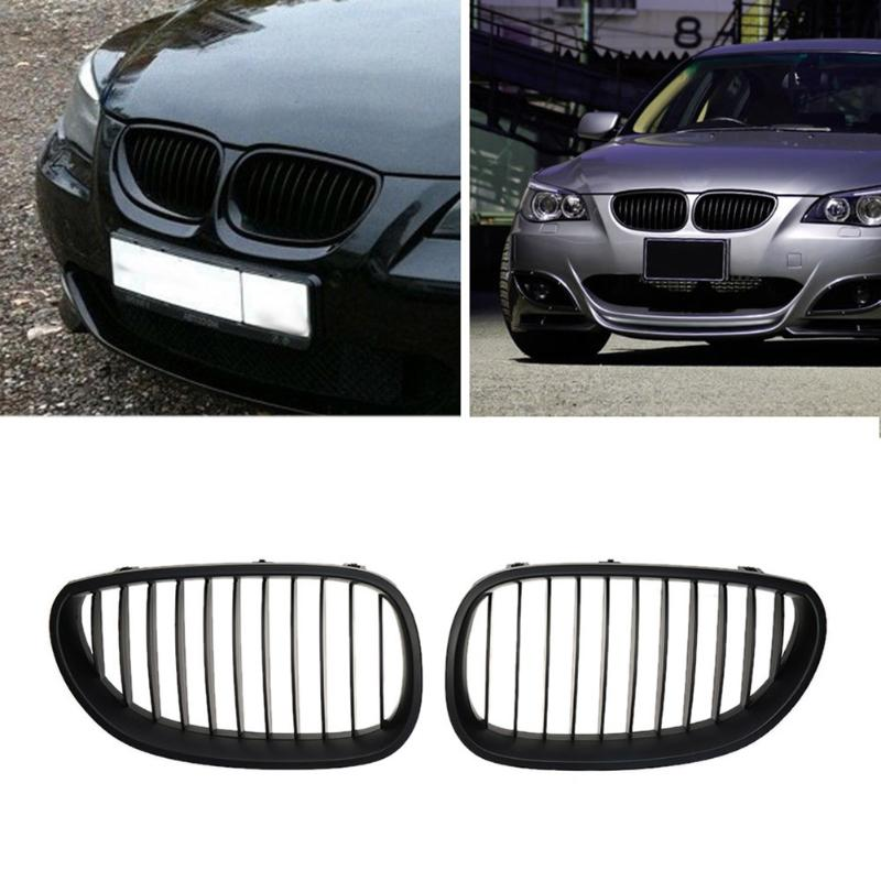 2Pcs Matte Black Kidney Grilles for BMW E60 E61 520d 520i 523li 525li 530li Car Front Bumper Grille for Modification Car Styling цены онлайн