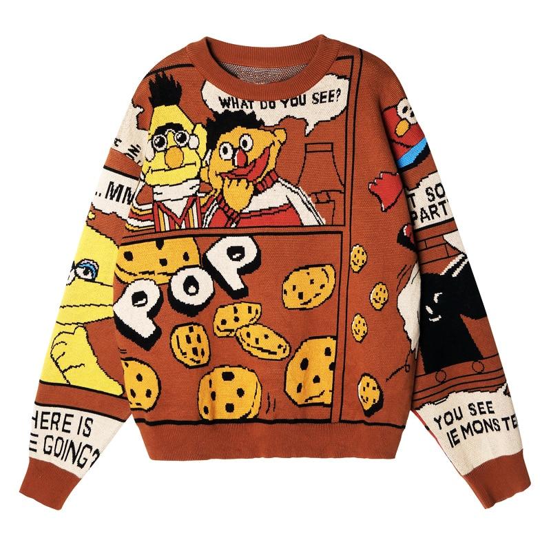 ฤดูหนาวใหม่แฟชั่นผู้หญิงเสื้อกันหนาวเสื้อกันหนาว Original Design Brown Sesame Street จดหมายผู้หญิงเสื้อกันหนาวเสื้อกันหนาวเสื้อกันหนาว-ใน เสื้อคลุมสวมศีรษะ จาก เสื้อผ้าสตรี บน   1