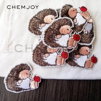 Parche bordado de erizo, adhesivos para planchado para ropa, parche de tela de caricatura, apliques para coser, bonito parche para ropa para niños