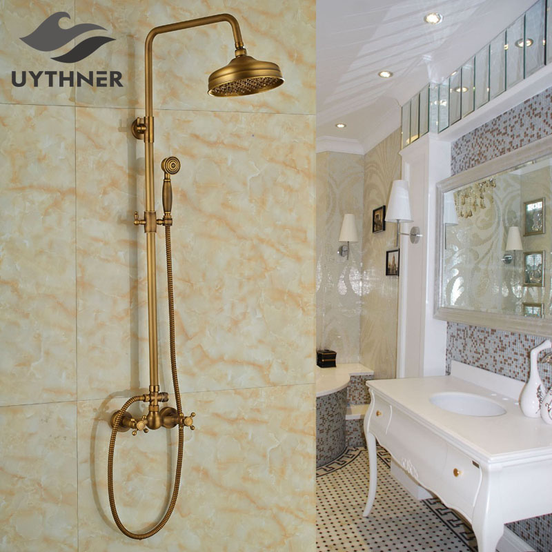 Newly Wall Mount 8 Inch Bath Shower Mixer Faucet Tap w Handheld Sprayer Antique Brass Rain