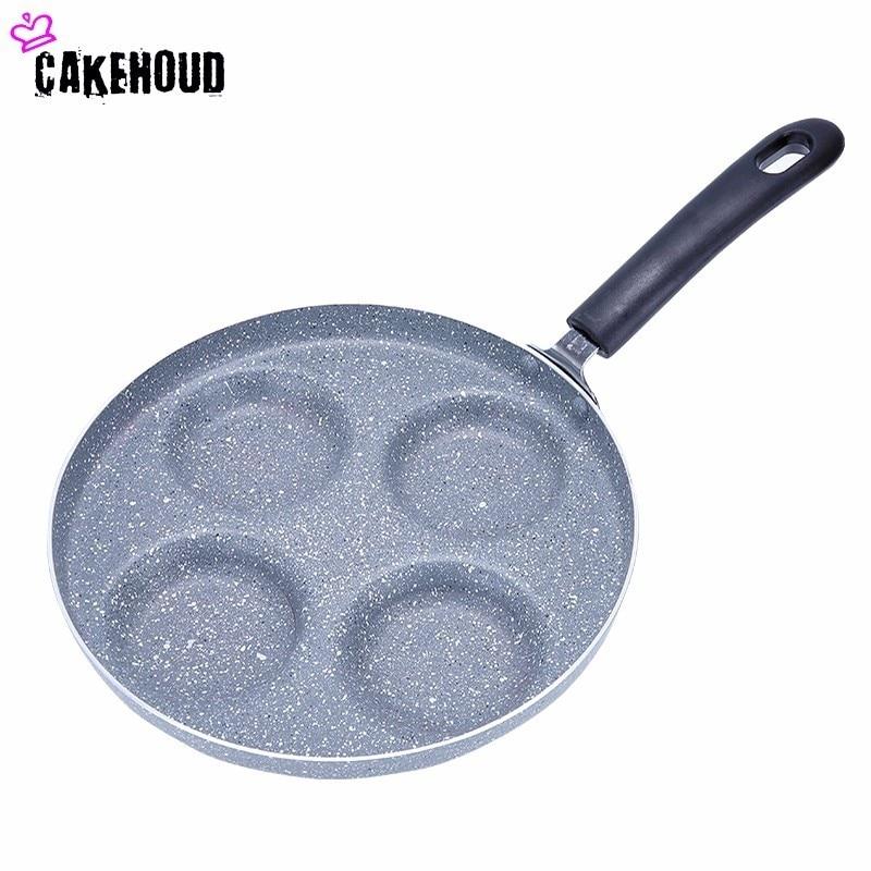 CAKEHOUD 24cm Multifunctional Non Stick Frying Pan Aluminum Alloy Four Hole Frying Pan Breakfast Pot Kitchen Utensils