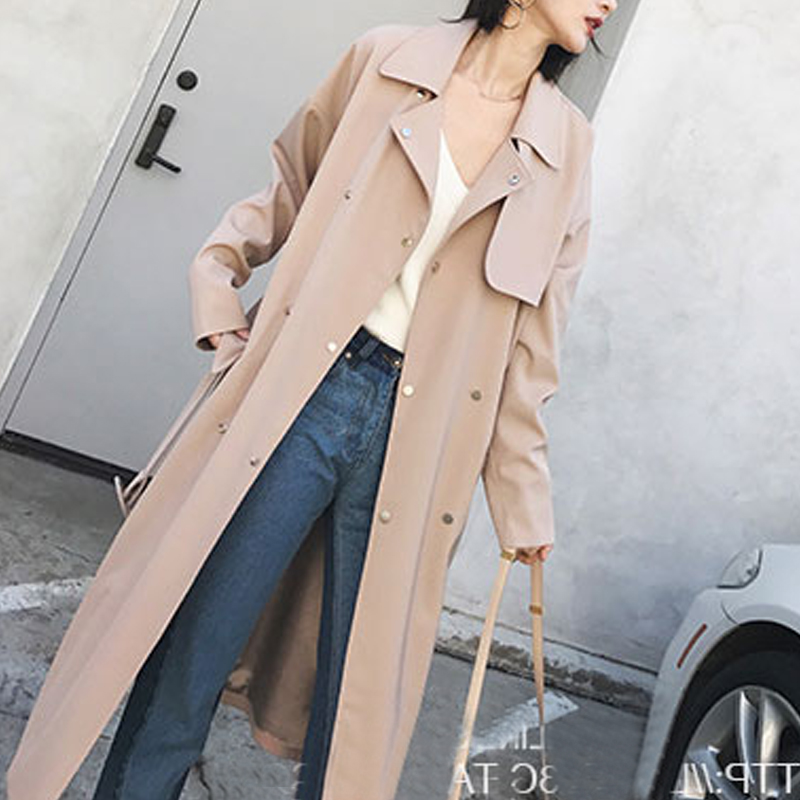 Spring Autumn Long   Trench   Coat Women Outerwear Loose Clothes for Lady with Belt Cloak Mujer Windbreaker Female Abrigos
