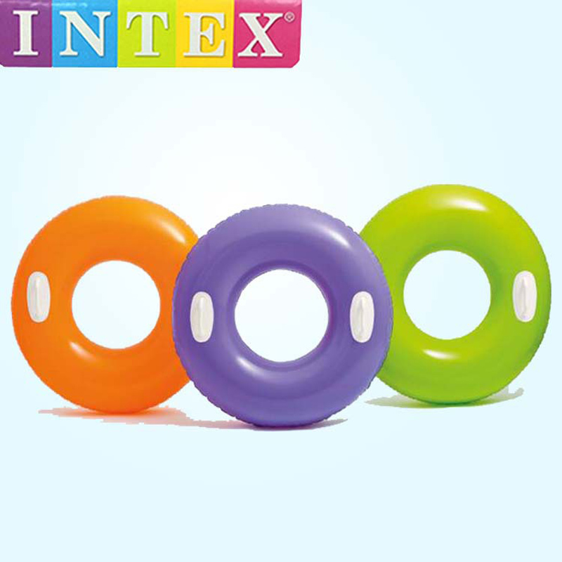 Intex pvc inflatable swim ring band with handle 76cm diameter 0.20mm swimming pool water play toy beach summer floating B41009