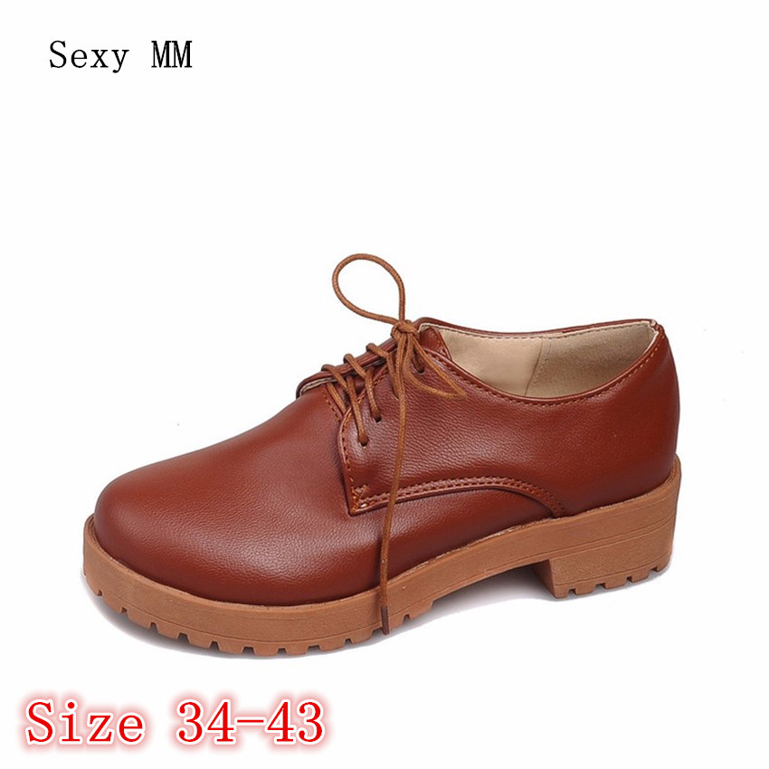 Oxford Shoes For Women Lace-Up Career Flats Oxfords Woman Brogue Flat Shoes Casual Loafers Plus Size 34-40.41.42.43 High Quality my brilliant career