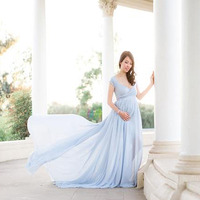 Elegant Maternity Dresses for Photo Shoot Sexy V Neck Off Shoulder Pregnancy Photography Dress Pregnant Women Party Maxi Dress