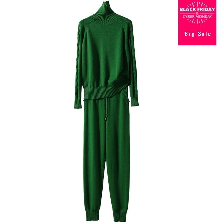 Hiver De Laine et Cachemire Tricoté chaud Costume Col Haut Torsion Pull En Tricot + Vison Cachemire Pantalon Loisirs Deux-pièce wj1727