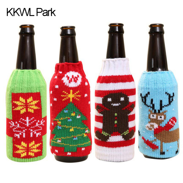 Beer Bottle Decoration Gorgeous Christmas Beer Set Household Items High Grade Knitted Christmas Inspiration
