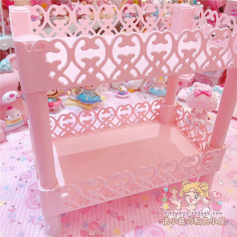 Lovely Pink Hollow Heart Double Shelf Storage For Dolls Collection Girls Cosmetic Display Container Furniture