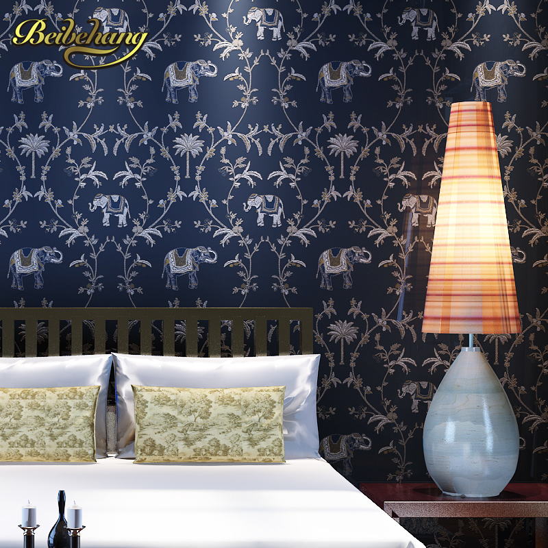 beibehang wall paper Pune elephant emerald palm Southeast Asian style high-end non-woven bedroom living room wallpaper backgrou