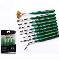 9Pcs/set Nylon Hair Nail Art Brush Wooden Paint Brushes Set Artists Paint Brush For Acrylic Oil Watercolor Nail Brush