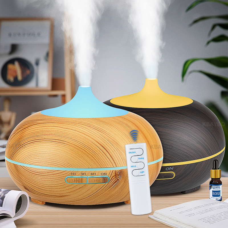 550ml Remote Control USB Aroma Oil Diffuser Wood Electric Humidifier Ultrasonic Air Humidifier Aromatherapy Mist Maker For Home