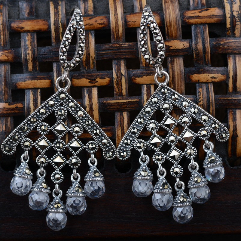 S925 silver inlaid white crystal silver earrings wholesale antique style female Zircon tassel style thai silver earrings s925 zircon silver inlaid white female antique style earrings atmospheric water