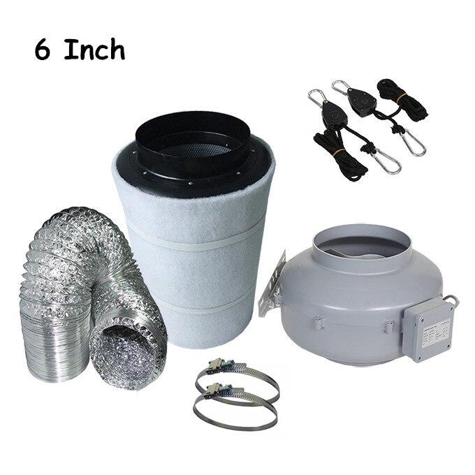 6-inch inline afzuigventilator en koolstoffilter & leidingen voor - Tuinbenodigdheden