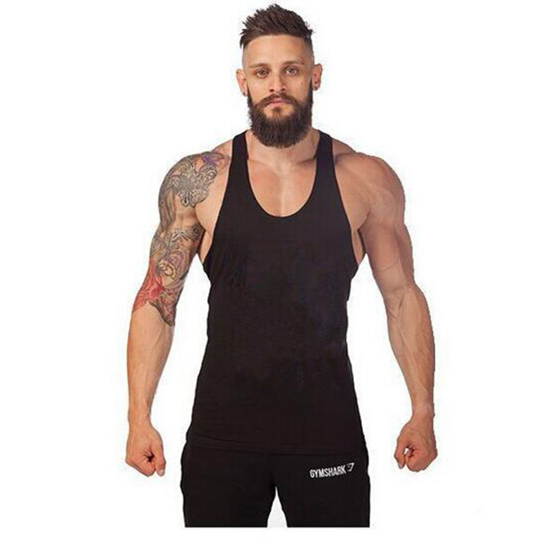 2017 New Brand Summer Singlets Mens Tank Top T Shirt Solid Color Stringer Bodybuilding Golds Gymvest Cotton Sportswear Vest