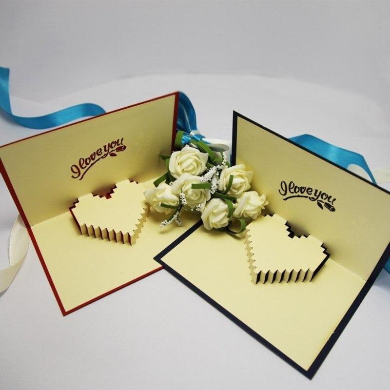 aliexpress  buy love rose handmade paper art greeting card, Greeting card