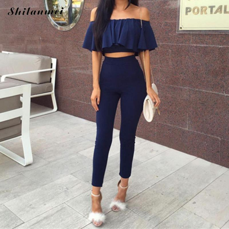 Sexy Ruffle Crop Top Long Pencil Pants Two Piece Set Women 2 Pieces Set Short Sleeve Casual Tracksuit Party Outfits 2018 Summer