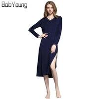 BabYoung 2017 Autumn Winter Women Nightgowns Lace Long Sleeve Sleepwear Sexy Sleepshirts V-neck Lingerie Red Sleep Dress