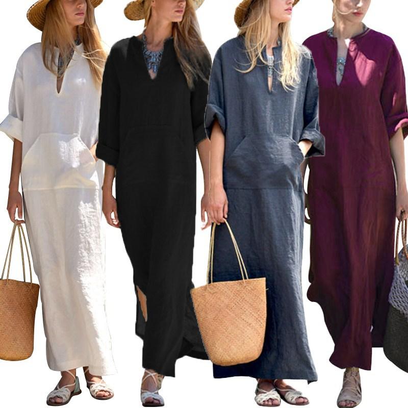 Vestido De Festa Vintage Linen Dress 2018 Summer Autumn Women Sexy Deep V Neck Split Long Sleeve Long Maxi Dresses Kaftan
