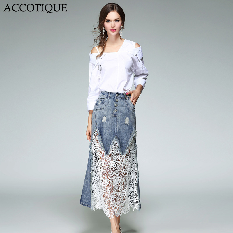 High Quality New Spring Womens Fashion Off Shoulder White Shirt Hole Hollow Out Lace Denim Skirt