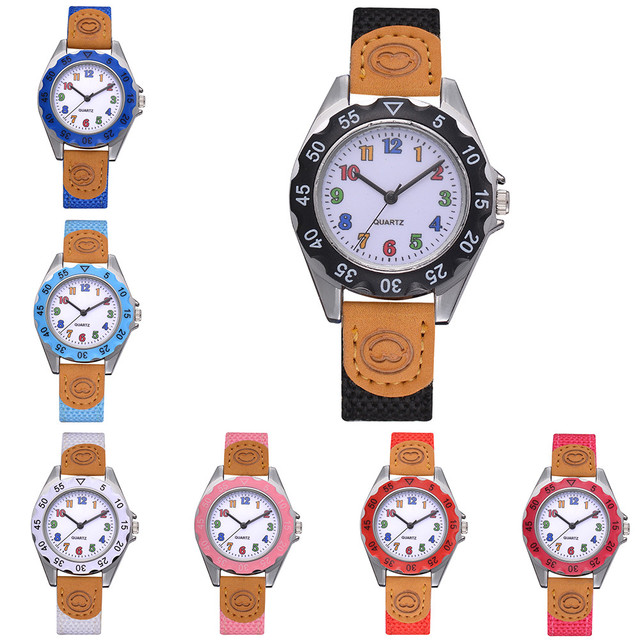Kids Girls' Fashion Colorful Strap Arabic Number Sport Quartz Wrist cute design