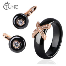 2019 New 585 Rose Gold Jewelry Sets Smooth ligth Black White Ceramic Rings Stud Earrings Bridal Jewelry Sets Fashion Jewelry Set(China)
