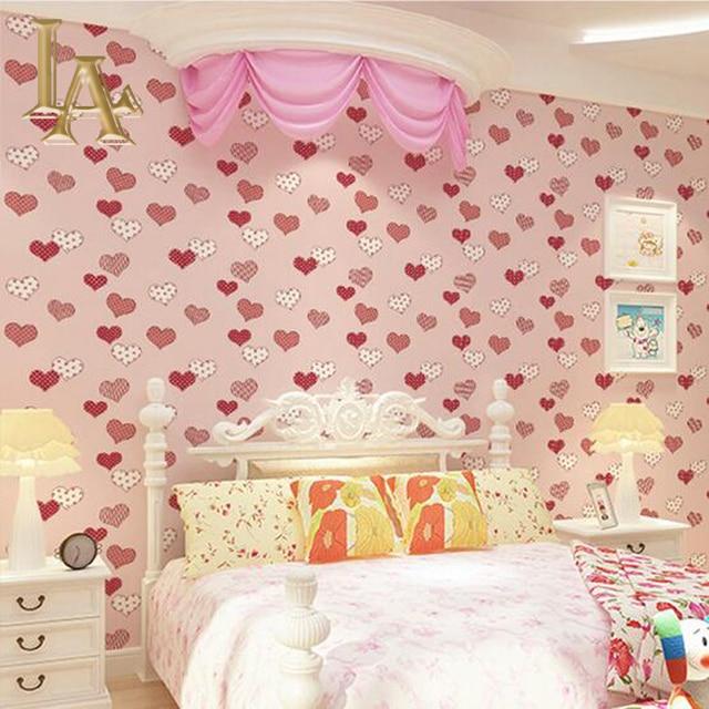 Aliexpresscom Buy Pink Blue Girls Bedroom Love Pattern - Blue wallpaper for girls bedroom
