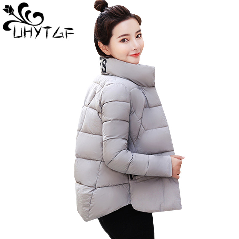 UHYTGF Cotton Jacket Women Tops Short Coat Korean Winter Jacket Women Warm Parka Female Down Cotton Jacket Letter Printed Coats