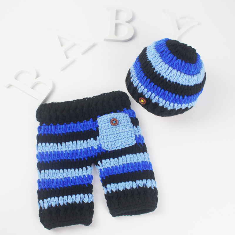 Newborn Baby Photography Props Button Beanie + Pocket Pants Costume Photo Prop Soft Cotton Newborn Crochet Outfits Accessories