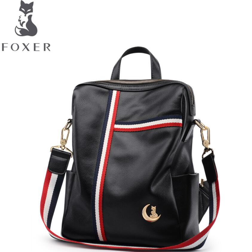 FOXER2018 high-quality fashion luxury brand new leather backpack women soft leather bag wild bag simple leather backpack women bag 2016 new foxer brand women genuine leather backpack fashion quality women cowhide leisure wild student backpack