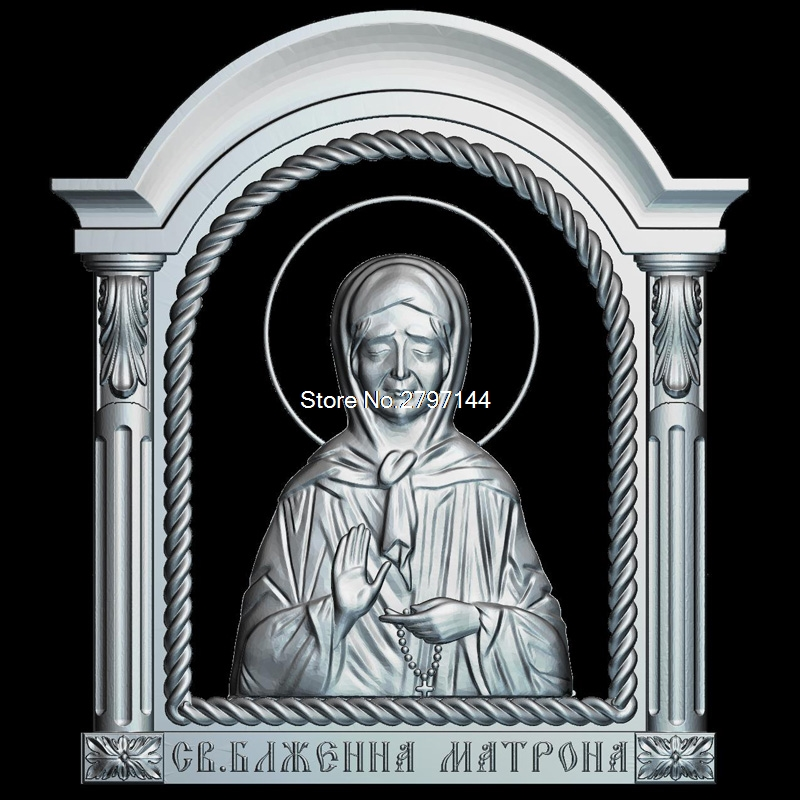 Icon Of The Blessed Matrona Of Moscow 3d Model For Cnc STL Format Religion 3d Relief Model STL Router 3 Axis Engraver ArtCam