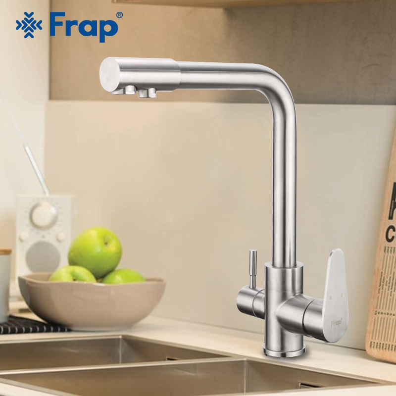 FRAP Kitchen Faucet With Filtered Drinking Water Stainless Steel Kitchen Sink Faucet Saving Water Taps Mixer Faucet Tapware