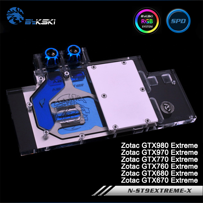 Bykski N-ST9EXTREME-X Full Cover Graphics Card Water Cooling Block RGB/RBW/ARUA for ZOTAC GTX980/970/770/760/680/670 EXTREME original for zotac mgt8012yb w20 turbo graphics card cooling fan diameter 7 3cm length 7cm 4wire